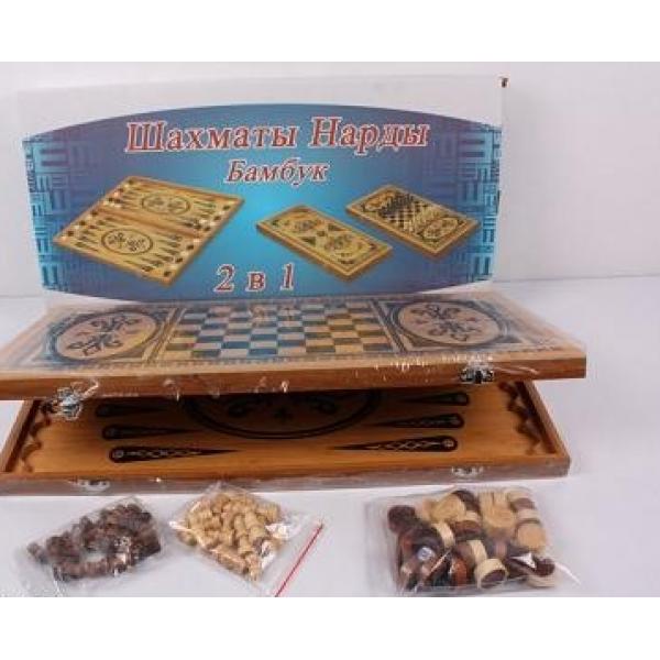 Шахматы 2в1 B15263, нарди, дерев'яні (Бамбук), в коробці 50-26-4,5см.