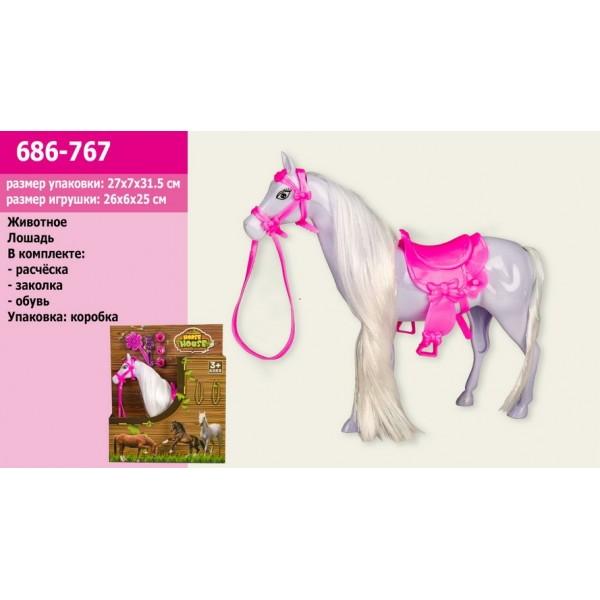 Животное Конь, в наборе аксессуары, 686-767