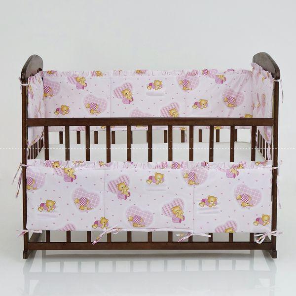 """Защита в кроватку 10571 """"Мишка с сердечками"""" - цвет розовый ТМ Беби-Текс"""