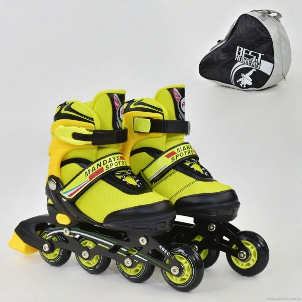 """Ролики 8901 """"S"""" Best Roller цвет-ЖЁЛТЫЙ /размер 31-34 (30-33)/ (6) колёса PU, без света, в сумке, d=6.4 см"""