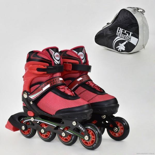 """Ролики 8902 """"М"""" Best Roller цвет-КРАСНЫЙ /размер 35-38/ (6) колёса PU, без света, в сумке, d=7см"""