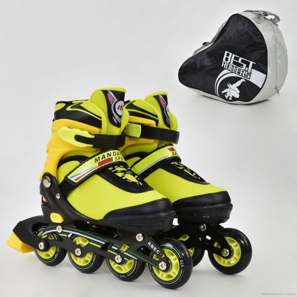 """Ролики 8902 """"М"""" Best Roller цвет-ЖЁЛТЫЙ /размер 35-38/ (6) колёса PU, без света, в сумке, d=7см"""