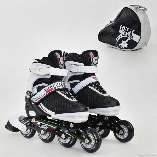 """Ролики 9001 """"S"""" Best Roller цвет-БЕЛО-ЧЕРНЫЙ /размер 31-34 (30-33)/ (6) колёса PU, без света, в сумке, d=6.4 см"""