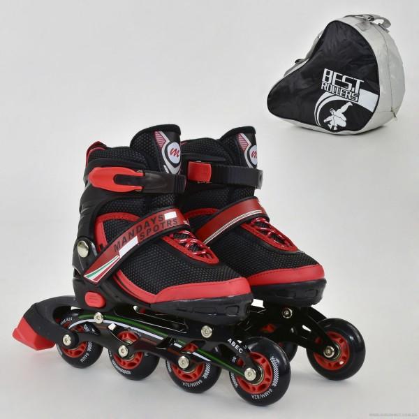 """Ролики 9001 """"S"""" Best Roller цвет-КРАСНЫЙ /размер 31-34 (30-33)/ (6) колёса PU, без света, в сумке, d=6.4 см"""
