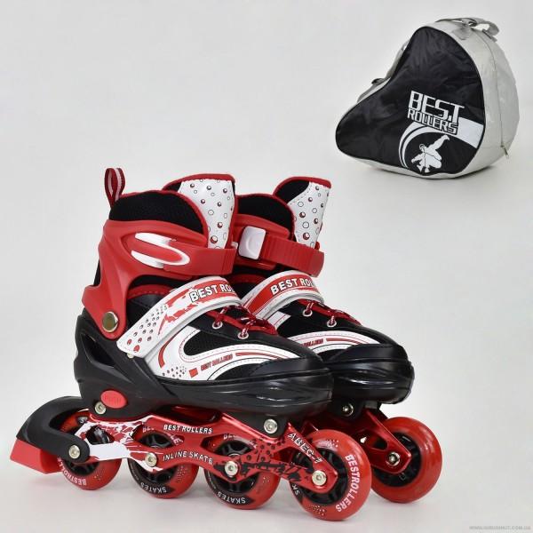 """Ролики 1003 """"L"""" Best Roller /размер 38-41/ цвет-КРАСНЫЙ (6) колёса PU, ПЕРЕДНЕЕ КОЛЕСО СВЕТ, в сумке, d=7см"""