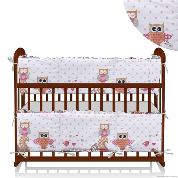 "Защита в кроватку 20242 ""Сова, птички"" - цвет бело-розовый ТМ Беби-Текс"