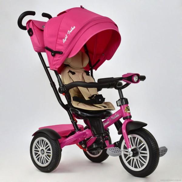 Велосипед 3-х колёсный 6188 В - 8120 Best Trike (1) РОЗОВЫЙ, ПОВОРОТНОЕ СИДЕНИЕ, НАДУВНЫЕ КОЛЕСА, ФАРА СО СВЕТОМ И ЗВУКОМ, КОЖАНЫЙ БАМПЕР И РУЧКИ