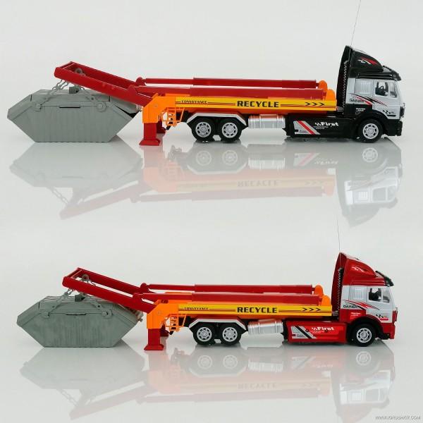 Трейлер-мусоровоз 789-01 Н (10) р/у, аккум. 6V, 2 цвета, в коробке