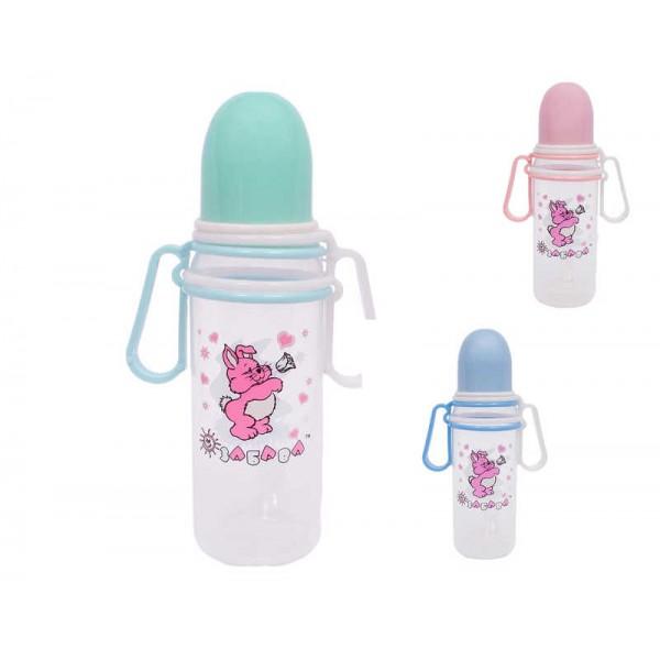 """Бутылочка пластиковая с подвижными ручками 250 мл. 072 (120) """"ЗАБАВА"""""""