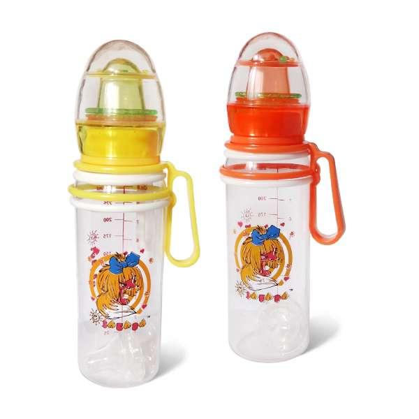 """Бутылочка пластиковая с подвижными ручками с погремушкой 250 мл. 091 (10) """"ЗАБАВА"""""""