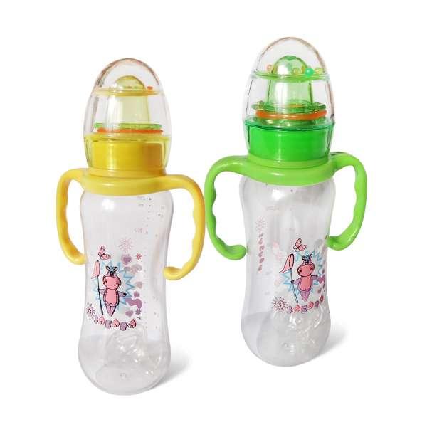 """Бутылочка пластиковая с ручками с погремушкой 250 мл. 089 (40) """"ЗАБАВА"""""""
