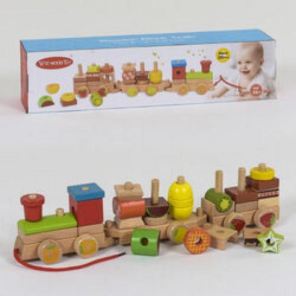 Деревянная каталка-конструктор Поезд С 39272 (28)
