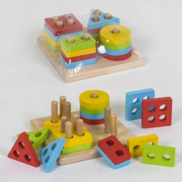 Деревянная логическая пирамидка Геометрия С 39357 (80)