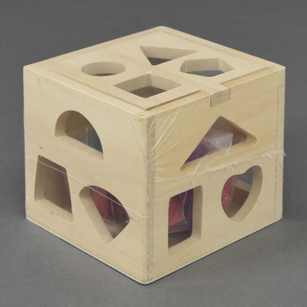 Деревянный куб-сортер 0541 (60) геометрические фигуры