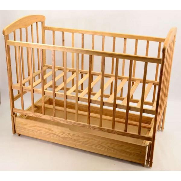 """-Кроватка деревянная маятник+шухляда """"Наталка"""" (1) светлый ясень"""