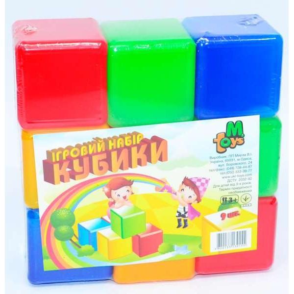 """Кубики цветные 9 шт. (21) """"M-TOYS"""""""
