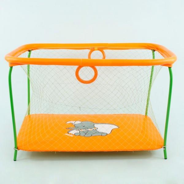 """Манеж №9 ЛЮКС """"Слоник"""" - цвет оранжевый (1) прямоугольный, мягкое дно, крупная сетка"""