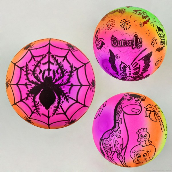 """Мяч детский резиновый F 22195 (400) 3 вида, 70 амм, размер 9"""""""