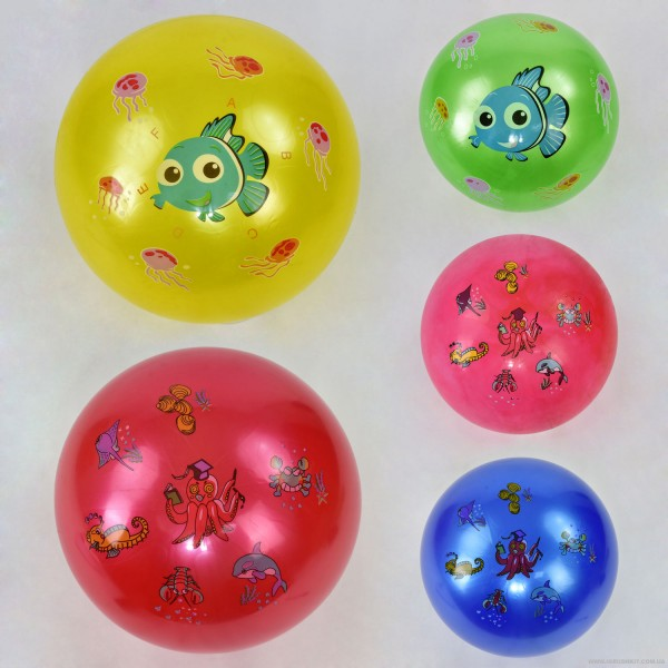 Мяч резиновый F 21972 (200) перламутровый, 70 амм, 5 видов