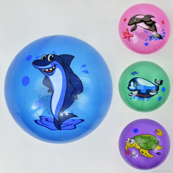 Мяч резиновый F 21985 (400) 4 вида, размер 9``, 60 амм, с блёстками