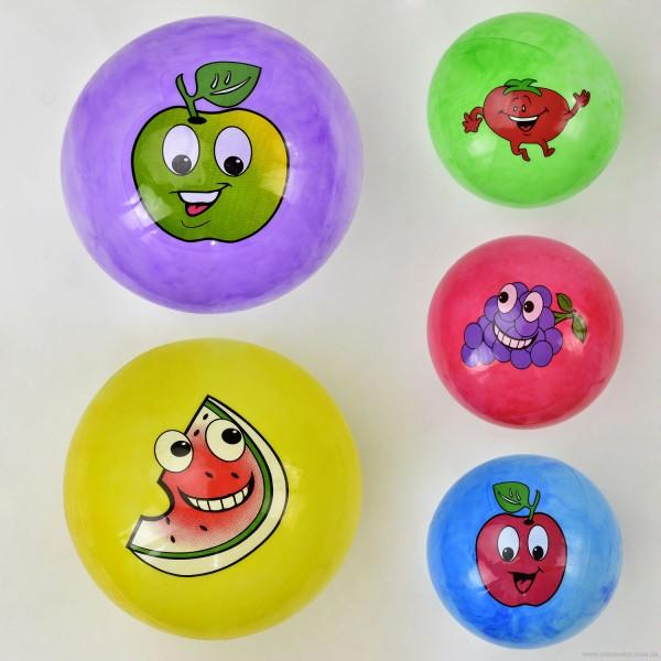 """Мяч резиновый F 22024 (400) размер 9"""", 60 амм, 5 цветов, 8 видов"""