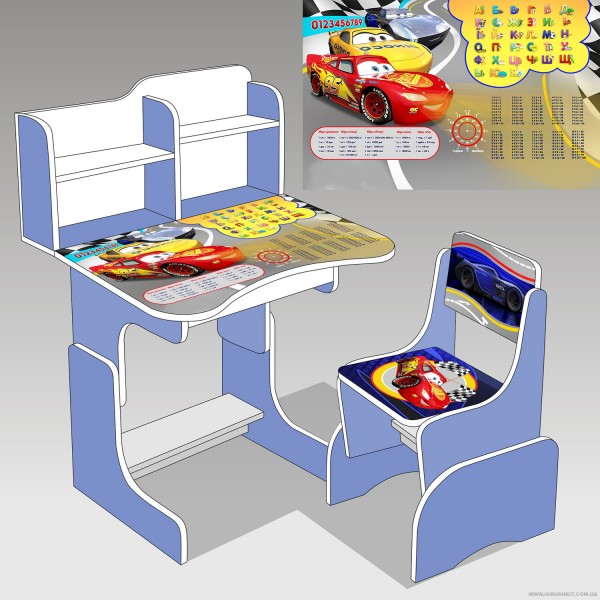 """Парта школьная """"Тачки"""" ЛДСП ПШ 020 (1) 69*45 см., цвет голубой, + 1 стул"""