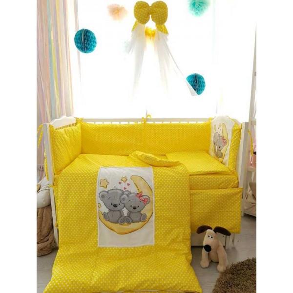 """Постельный комплект """"Новая коллекция """"Горох"""""""" 33745 (1) - 8 предметов , цвет жёлтый"""