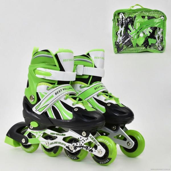 """Ролики 2003 """"L"""" Best Roller цвет-САЛАТОВЫЙ /размер 38-41/ (6) колёса PVC, ПЕРЕДНЕЕ КОЛЕСО СВЕТ, в сумке, d=7см"""