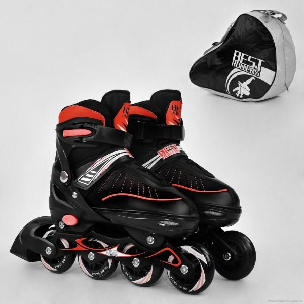 """Ролики 5700 """"L"""" Best Roller цвет-КРАСНЫЙ /размер 39-42/ (6) колёса PU, в сумке  d=7 cм"""