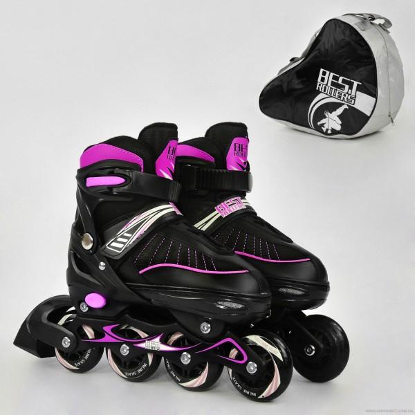 """Ролики 5700 """"L"""" Best Roller цвет-РОЗОВЫЙ /размер 39-42/ (6) колёса PU, в сумке  d=7 cм"""