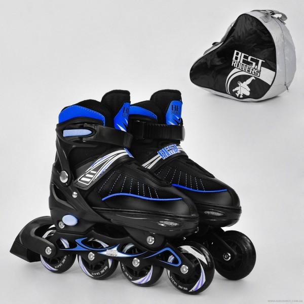 """Ролики 5700 """"L"""" Best Roller цвет-СИНИЙ /размер 39-42/ (6) колёса PU, в сумке  d=7 cм"""