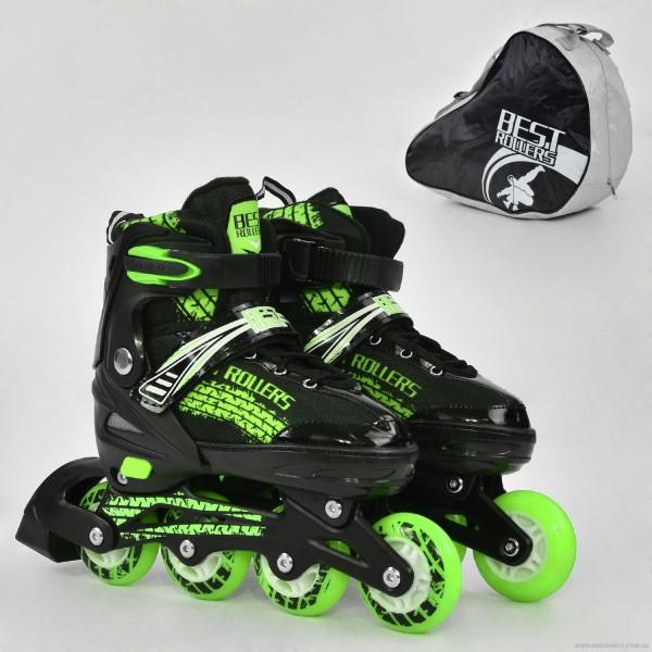 """Ролики 5800 """"L"""" Best Roller /размер 39-42/ цвет-ЗЕЛЁНЫЙ (6) колёса PU, переднее колесо свет, в сумке d=7cм"""