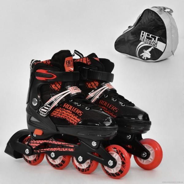 """Ролики 5800 """"S"""" Best Roller /размер 31-34/ цвет-КРАСНЫЙ (6) колёса PU, переднее колесо свет, переставные колёса, в сумке d=6.4cм"""