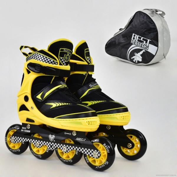 "Ролики 6014 ""M"" Yellow - Best Roller /размер 35-38/ (6) колёса PU, без света, d=8.4см"