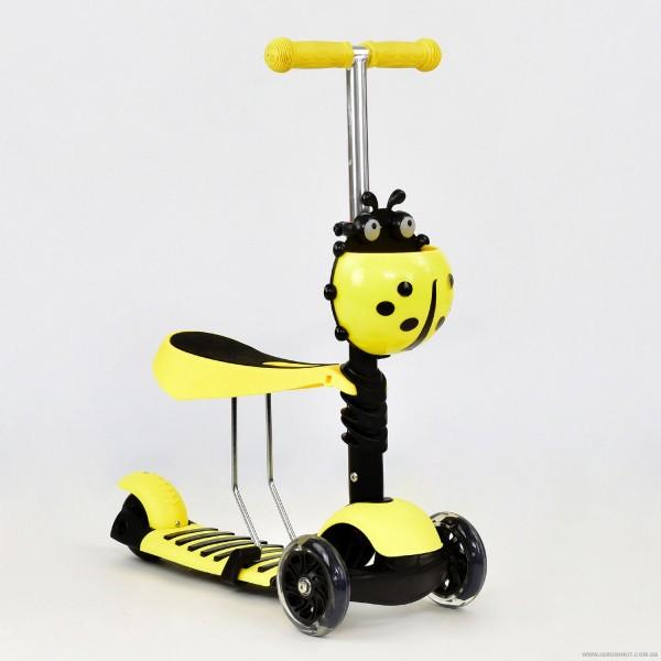 Самокат А 24667 - 1020 Best Scooter 3 в 1 (8) цвет ЖЁЛТЫЙ, колеса PU светящиеся