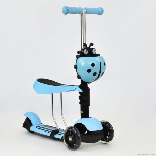 Самокат А 24671 - 1060 Best Scooter 3 в 1 (8) цвет ГОЛУБОЙ, колеса PU светящиеся