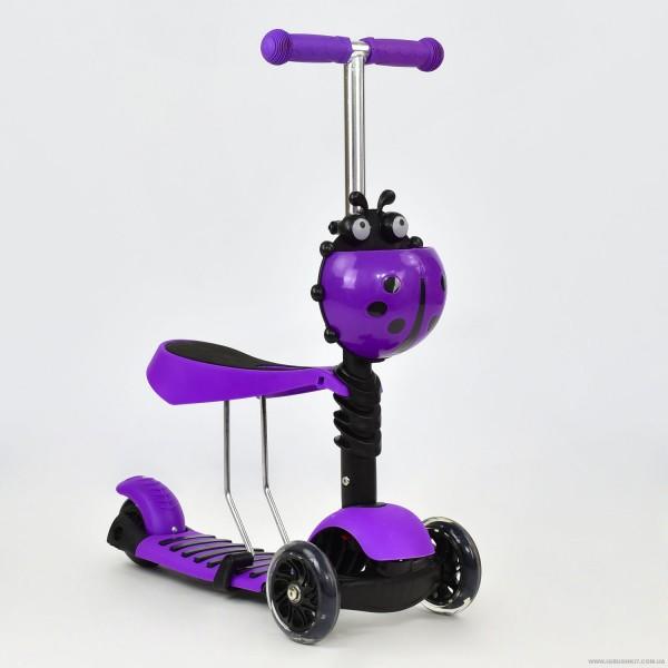 Самокат А 24672 - 1070 Best Scooter 3 в 1 (8) цвето ФИОЛЕТОВЫЙ, колеса PU светящиеся