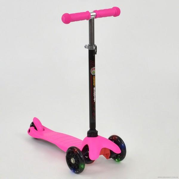 """Самокат А 24682 / 466-112 MINI """"Best Scooter"""" (8) РОЗОВЫЙ, пластмассовый, СВЕТ. КОЛЁСА PU, трубка руля алюминиевая матовая, в кор-ке"""