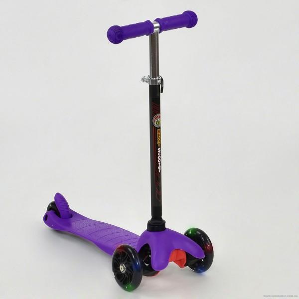 """Самокат А 24688 / 466-112 MINI """"Best Scooter"""" (8) ФИОЛЕТОВЫЙ, пластмассовый, СВЕТ. КОЛЁСА PU, трубка руля алюминиевая матовая, в кор-ке"""