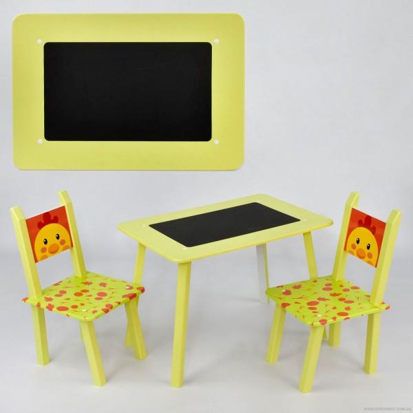 Столик МИНИ Цыпленок С 082 (1) 60*46 см. /столик с меловой поверхностью+ 2 стула/