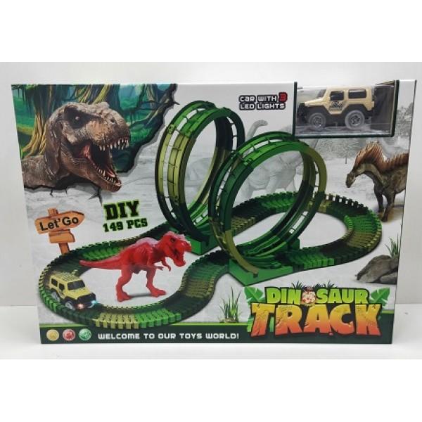 Трек батар 82235(12шт)машинка, динозавр, свет, звук, в коробке 43.5*10*31см