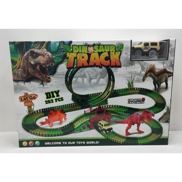 Трек батар 82236 (12шт)машинка, динозавр, свет, звук, в коробке 48*10*37см
