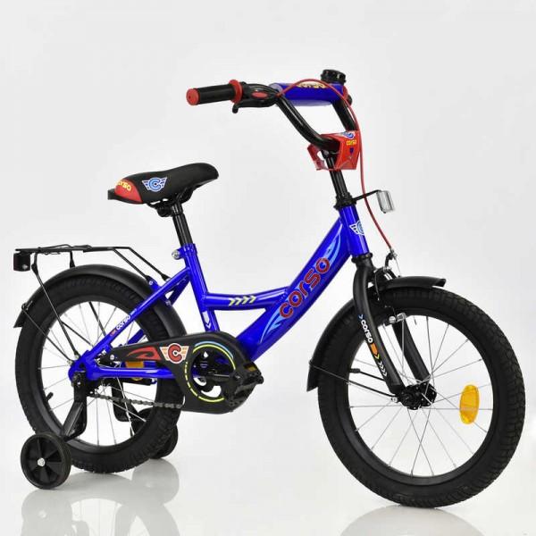 """Велосипед 16"""" дюймов 2-х колёсный С16444 """"CORSO"""" (1) ТЕМНО-СИНИЙ"""