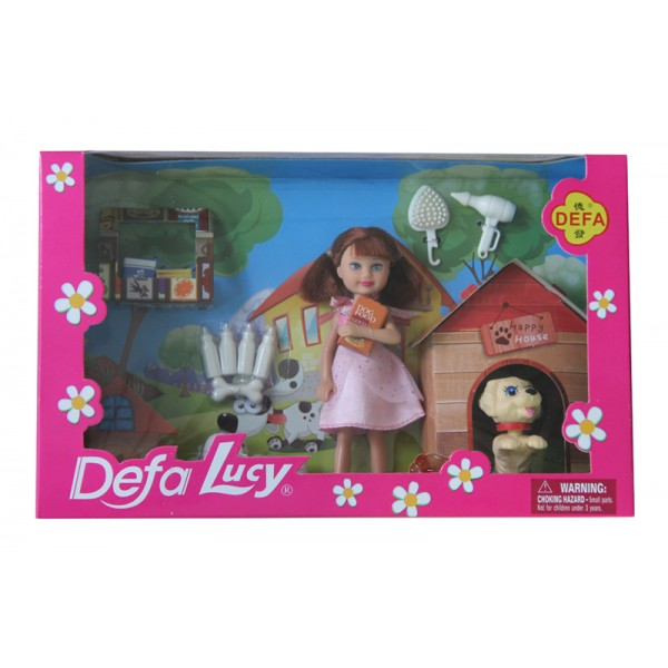 "Кукла ""Defa Lucy""  (8281) собачка,бутылка,косточкад,в кор,27,5*17*6 см"