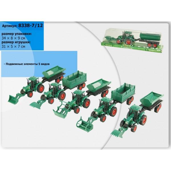 Трактор инерц.  (8338-7/12) 6 видов, под слюдой 34*8*9см