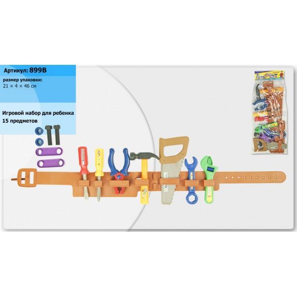 Набор инструментов  (899B) пояс, пила, молоток, ключи, плоскогубцы, в пакете 21*4*46см