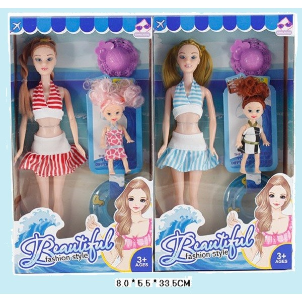 "Кукла типа ""Барби""  (B102) 2вида,с куколкой,шляпкой, круг в кор.8*5,5*33,5см"