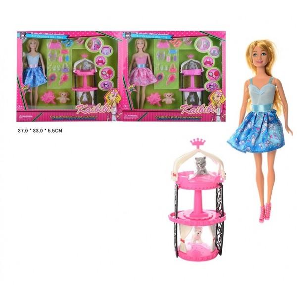 """Кукла типа """"Барби""""  (BLD105) 2 вида,с питомцами,набор обуви,сумок,украшений,в кор.37*33*5,5см"""