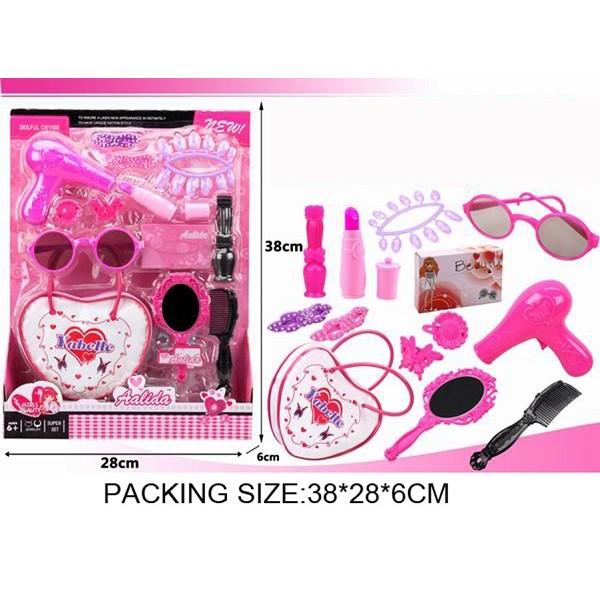 Парикмахерский набор  (SF237203)фен,расч,зерк,заколки,бигуд,очки,помада,сумочка на планш.38*28*