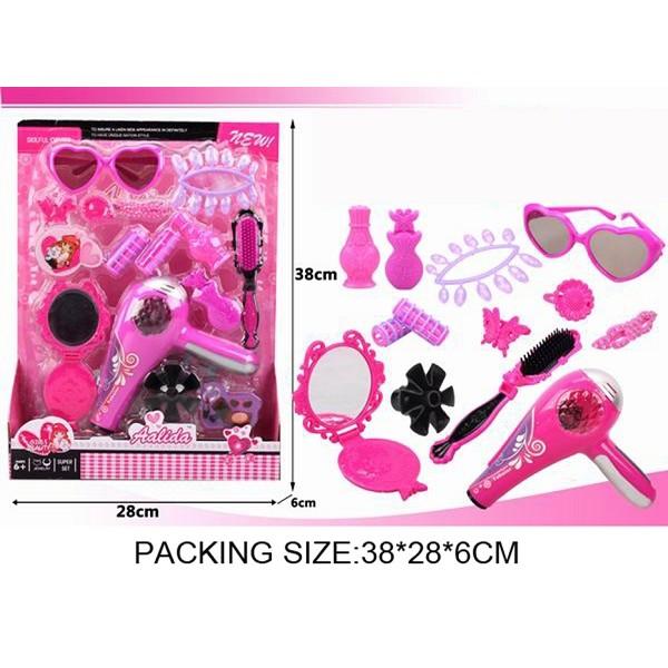 Парикмахерский набор  (SF237204)фен, зеркало, расческа, бигуди,ногти,очки,духи на планш.38*28*